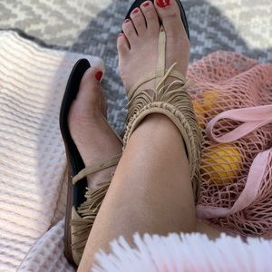 DVF fringe suede tan sandals